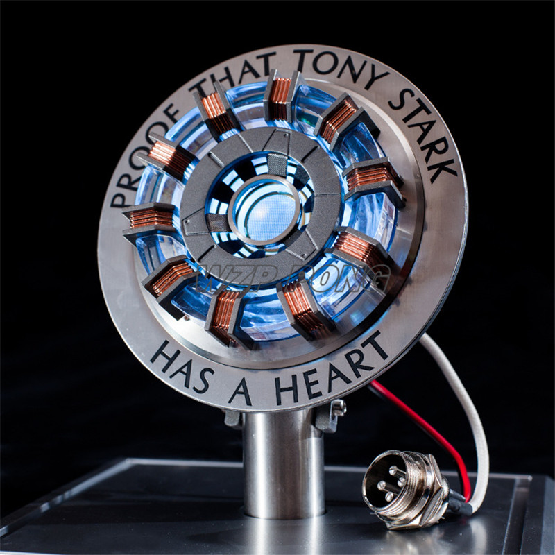 New Metal Ver MK2 MK1 Iron Man DIY Parts Model Toys Chest Lamp Avengers 1:1 Iron Man Arc Reactor Action Figure Remote Light Arc