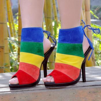 ASHIOFU Handmade Women High Heel Pumps Slingback Shoelace Party Prom Shoes Rainbow Colorful Evening Fashion Pumps Shoes XD081