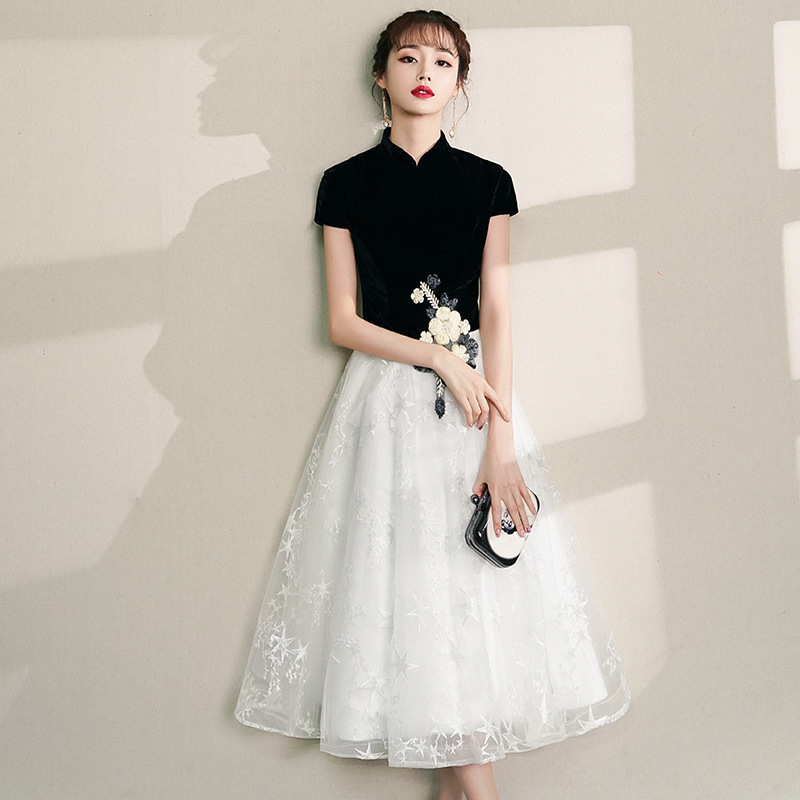 2020 Lace Women Chinese Dress Traditional Party Elegant Cheongsam Wedding Dress Vintage Bridesmaid Qipao Evening Dress