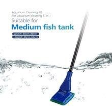 5 In 1 Multifunctionele Aquarium Cleaning Tools Fish Net Grindhark Algen Schraper Vork Spons Borstel Glazen Aquarium Cleaner set