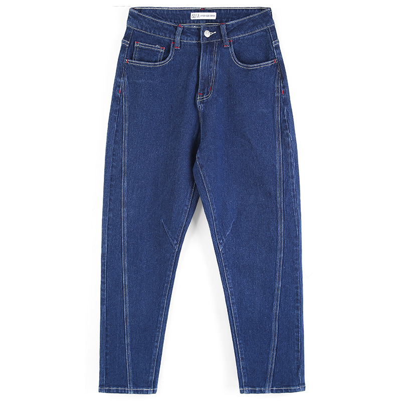 LEIJIJEANS  New Arrival Low-elastic Mid-rise Loose Harlan Long Jeans Dark Blue Stretchy Features Ladies Plus Size Mom Jeans 9066