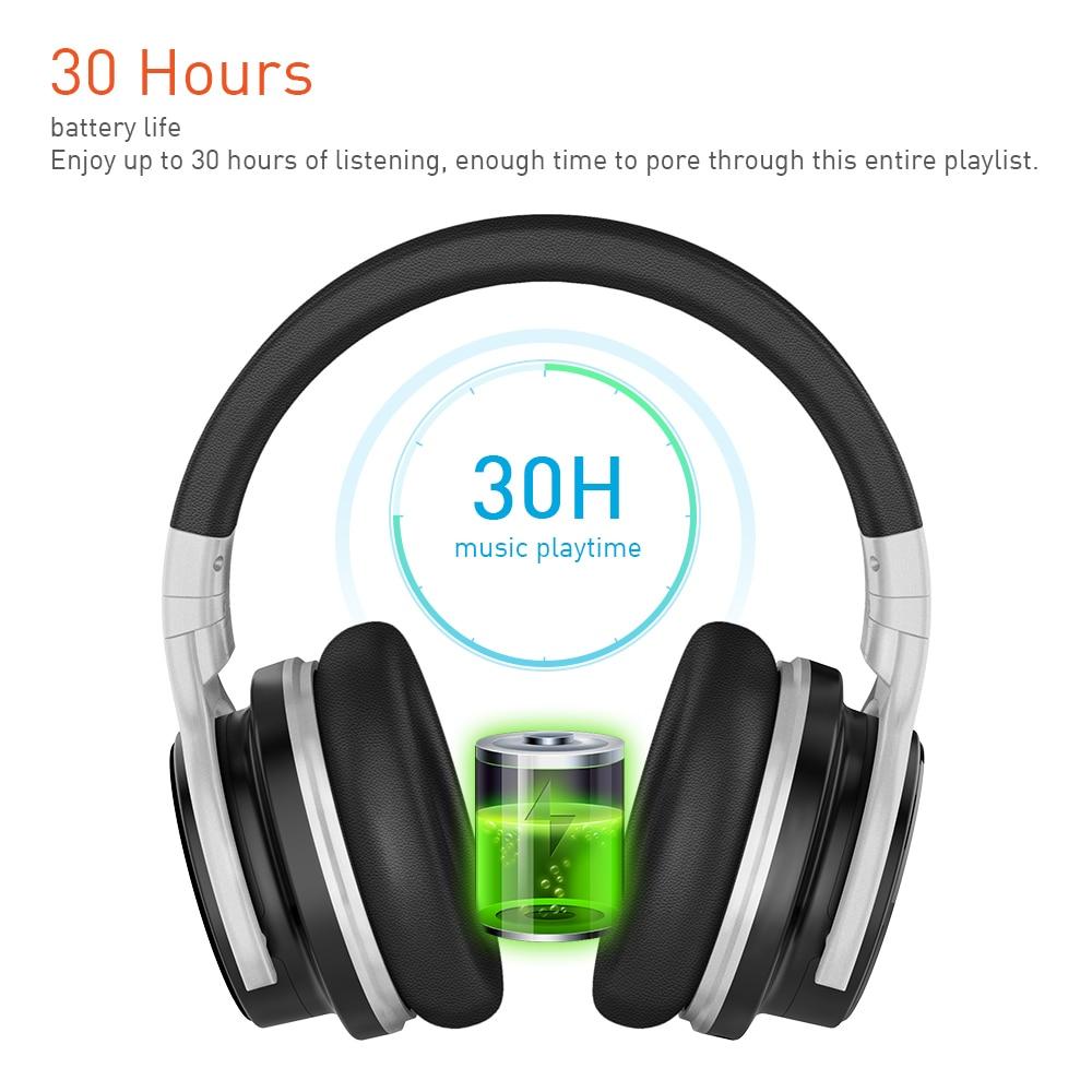 Meidong E7B [Verbeterde] Bluetooth Hoofdtelefoon Active Noise Cancelling Hoofdtelefoon Draadloze Headset Over Ear Met Microfoon Diepe Bas 3
