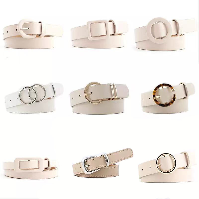 12 Styles Women Belts Luxury Brand Double Circle Buckle PU Leather Waist Strap Jeans Trousers Casual Ladies Female Waistband