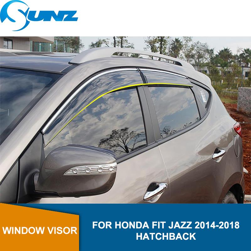 Window Visor for Honda FIT JAZZ 2014-2018 side window deflectors rain guards Hatchback SUNZ