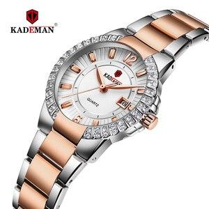 Image 1 - 2019 frauen Luxus Kleid Uhr Kristalle Zirkon Damen Uhren Wasserdicht Voller Stahl TOP Marke Weibliche Armbanduhr Neue Mode Party
