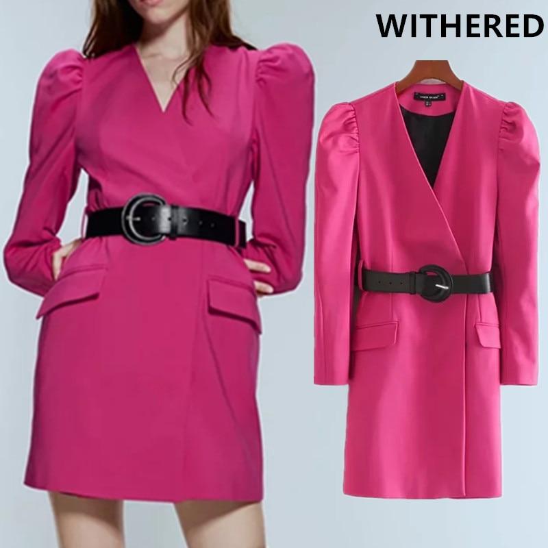 Withered England Office Lady Solid Sashes Puff Sleeve Party Mini Dress Women Vestidos De Fiesta De Noche Vestidos Long Blazers