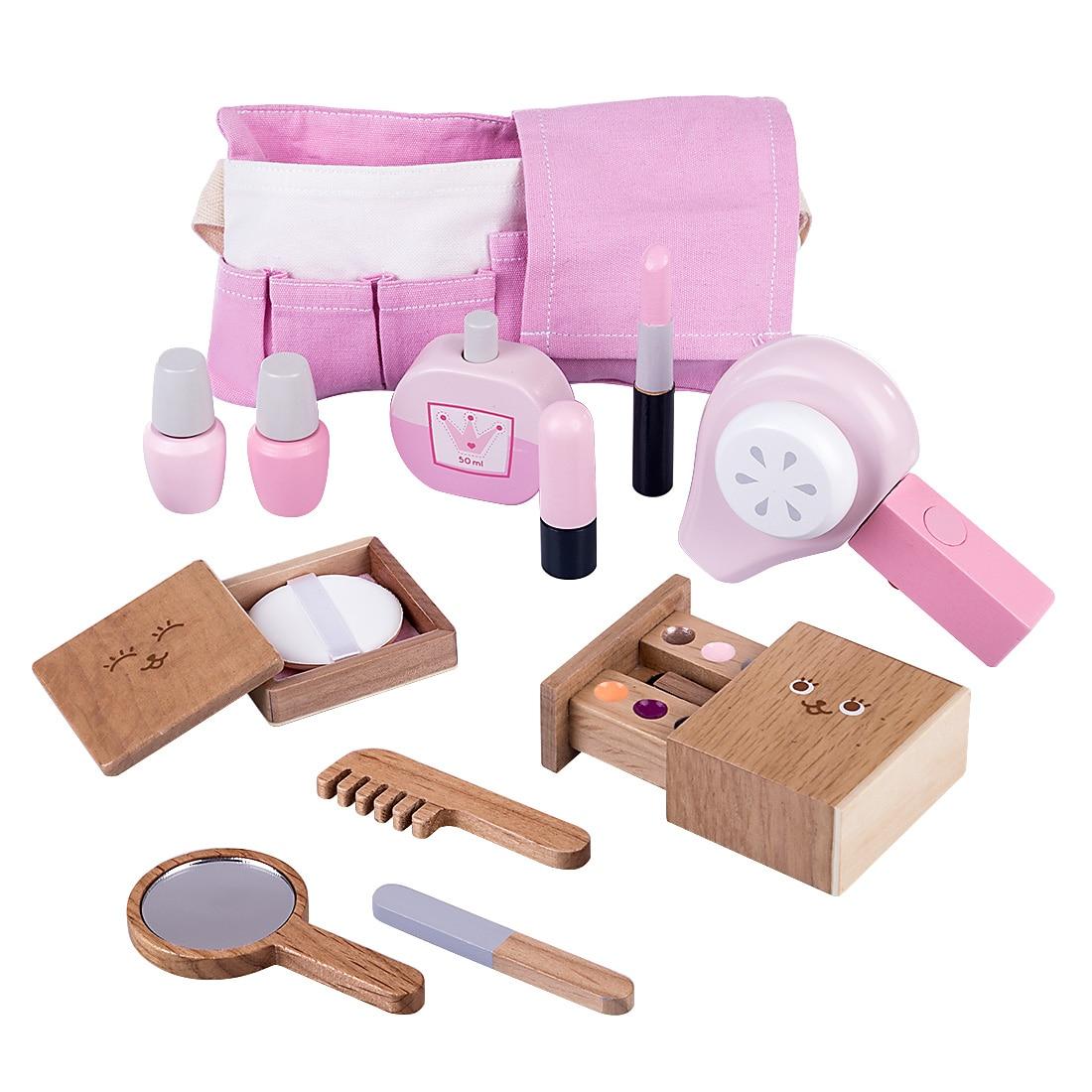 12Pcs Children Wooden Makeup Pretend Play Set Simulation Hair Dryer Toys Kids Birthdaty Gifts 2020 New Arrival