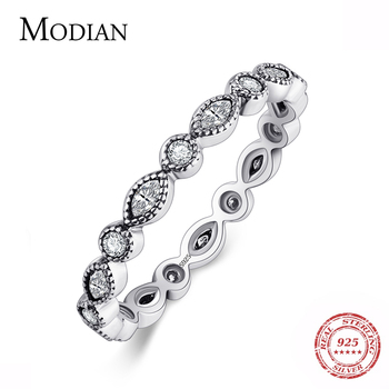 Modian Authentic 925 Sterling silver Sparkling Rings for women CZ Jewelry Finger Ring engagement rings Bague fashion Accessories 925 sterling silver lucky cloud rings for women jewelry fashion opening adjustable finger ring lady gift bague femme