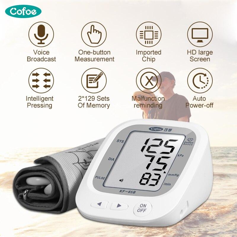 Cofoe Automático Dispositivo de Pulso Arterial Monitores Medidor Medidor da Pressão Sanguínea do Braço Superior Esfigmomanômetro de valor da memória de Grande capacidade