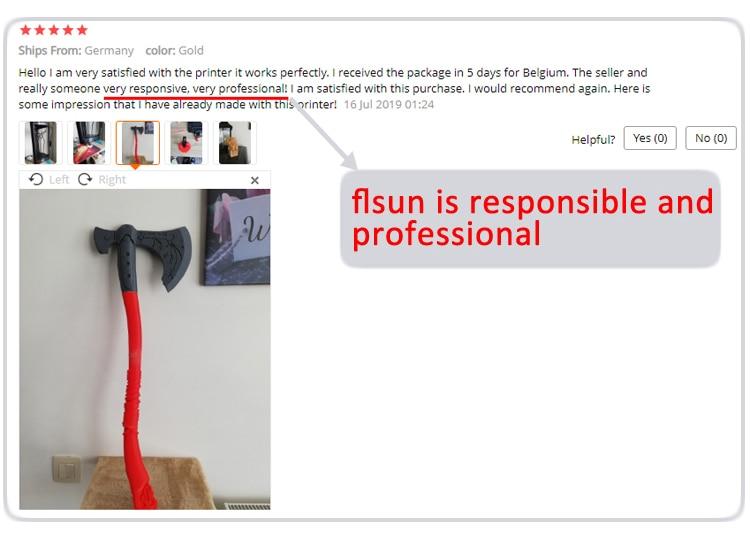 3d printer 8flsun is responsible and profesional