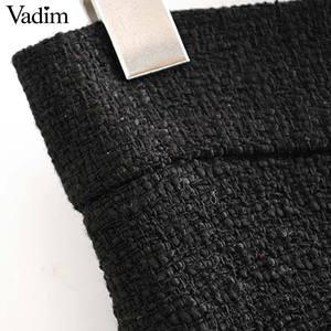Image 4 - Vadim women stylish tweed midi skirt front split high waist buttons decorate female retro casual skirts mujer BA855