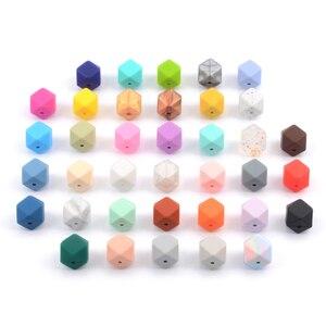 Image 2 - Оптовая продажа, большие шестигранные силиконовые бусины, ожерелье для прорезывания зубов, силиконовые бусины для детского прорезывателя, безопасные бусины для прорезывания зубов, Бисфенол А