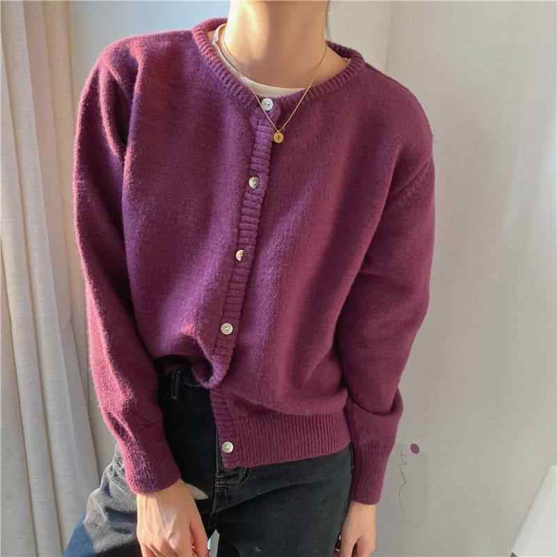 여성을위한 자른 카디건 의류 빈티지 패션 숙녀 2020 새로운 봄 한국어 순수 컬러 스웨터 느슨한 짧은 탑 캐주얼