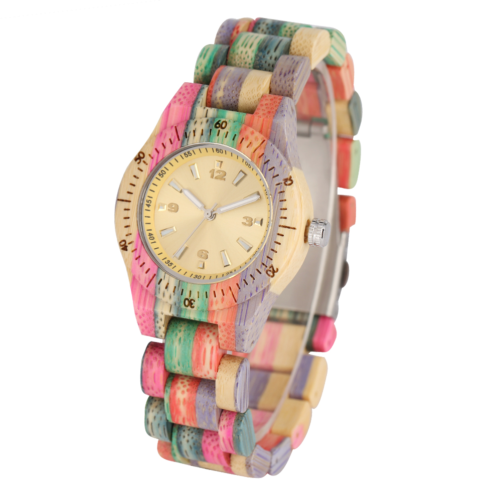 YISUYA Small Wooden Women Watch Colorful Band Quartz Wristwatch Yellow Clock Ladies Timepieces Best Girlfriend Gift Dropshipping