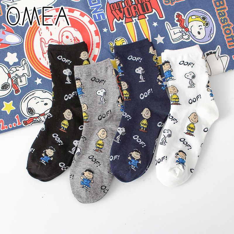OMEA meias de algodão feminino esportes respirável unisex dos desenhos animados do cão peanuts meias quentes puro algodão adorável longo meias kawai tartaruga pescoço