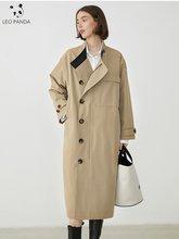 Весна 2020 Женские Хаки Длинный плащ пальто британский стиль