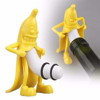 1 sztuk kreatywny nowość narzędzia barowe korek do wina korek do butelki Funny Banana Guy korek do butelki wina ciekawe prezenty korek do butelki wina tanie i dobre opinie XINCHEN CN (pochodzenie) Plastic Banana person Figure