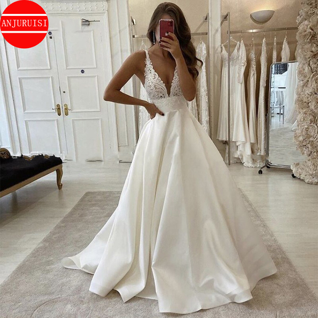Sexy Deep V Neck Wedding Dress 2020 Boho vestido de noiva White Satin A Line Bridal Gowns Simple Appliques Back Less With Pocket 3