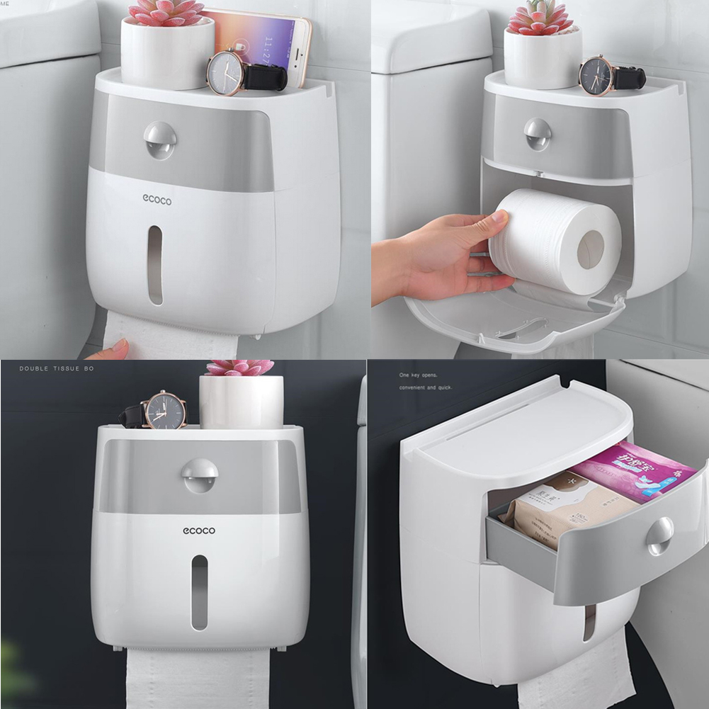 Waterproof Wall Mount Toilet Paper Holder Towel For Bathroom Tissue Paper Box Rack Bathroom Toilet Tissue Paper Wall Mounted