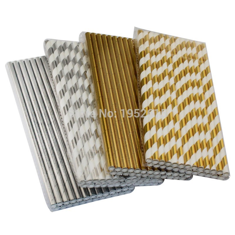 New 25pcs lot Foil Paper Straws For Kids Birthday Party Wedding Decorations Bachelorette Drinking Straws Event Party Supplies in Disposable Party Tableware from Home Garden