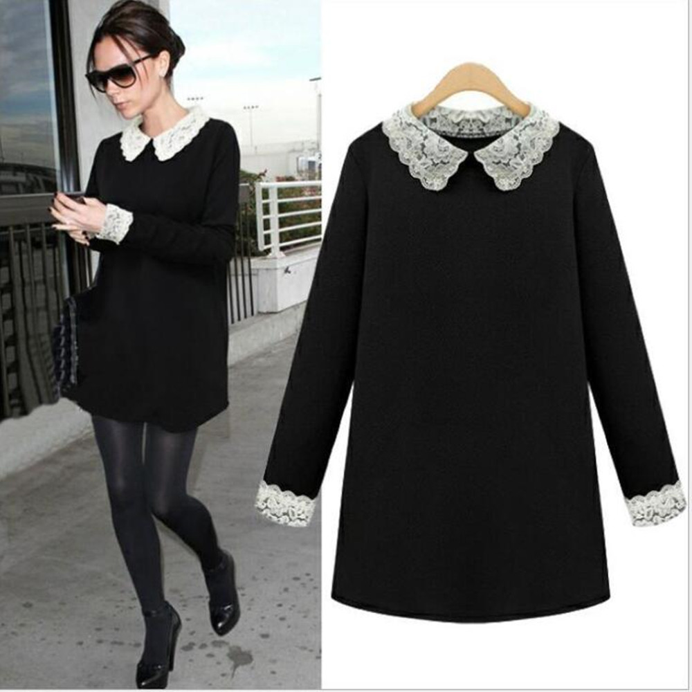 Autumn And Winter Ladies Women's Clothing Plus Size Full Sleeve Lace Collar Dresses X053