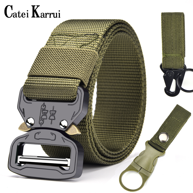 Catei Karrui Outdoor Hunting Metal Tactical Belts For Men Multifunctional Buckle High Quality Marine Corps Men's Training Belt
