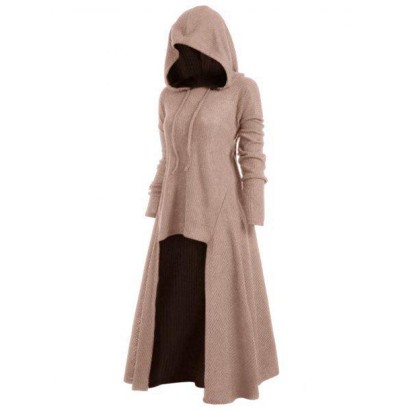 Long Black Gothic Dress Women Hooded Punk Clothing Style Plus Size Knitted Dresses For Women Winter 2019 4xl 5xl