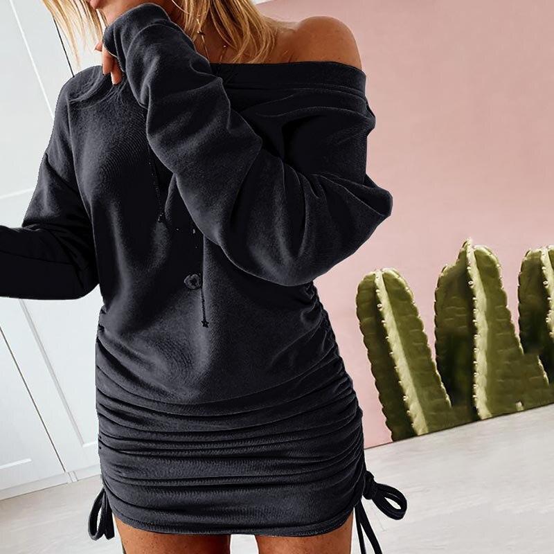 Plus rozmiar 5XL 2020 moda damska sweter Off Shoulder jednolity kolor sznurkiem Ruched bluzy z długim rękawem sukienka Mini sukienka
