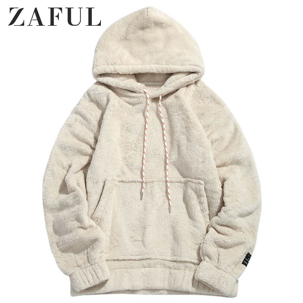 ZAFUL Men Hoodies Men Pullover Dress Female Pouch Pocket Patch Detail Fluffy Hoodie Hooded Sweatshirt Ladies Tops 2019 Hoody