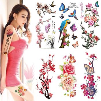 24 kolor sztuczne kwiaty naklejki z tatuażami Flash tatuaż z henny fałszywe wodoodporne tymczasowe tatuaże jednorazowe tatuaż-ozdoba na ciało tanie i dobre opinie CN (pochodzenie) as the item show BJ14244