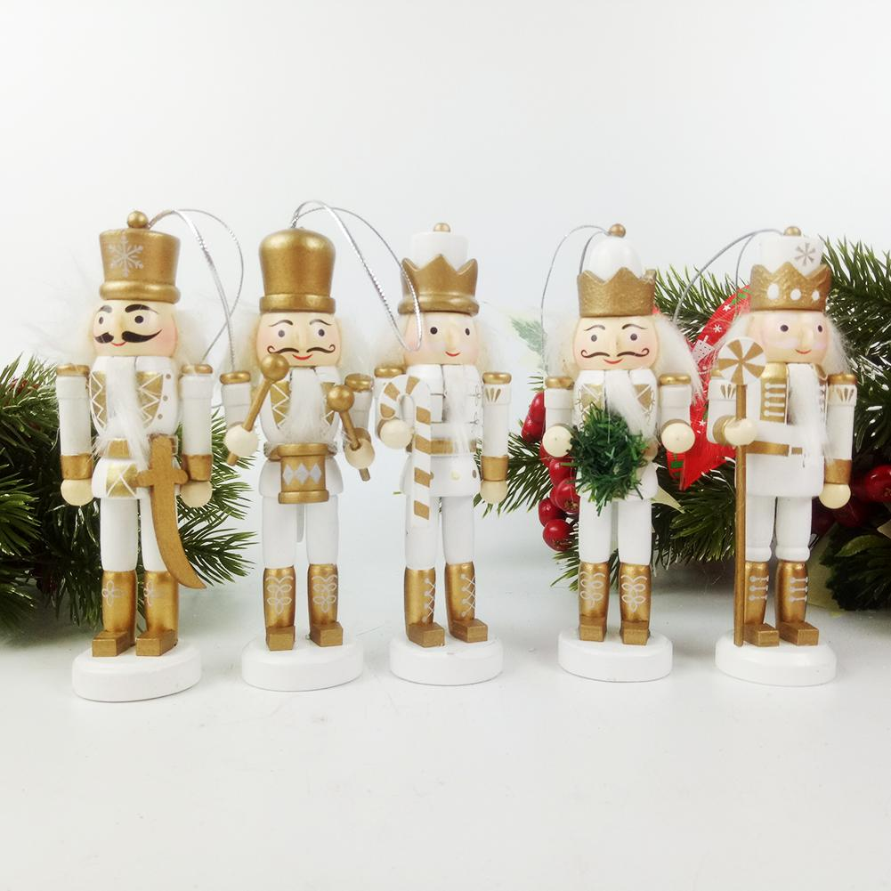 New Year Gift 12.5cm British Wooden Nutcracker Christmas Tree Hanging Ornaments Desktop Decoration Walnuts Soldiers Band Doll