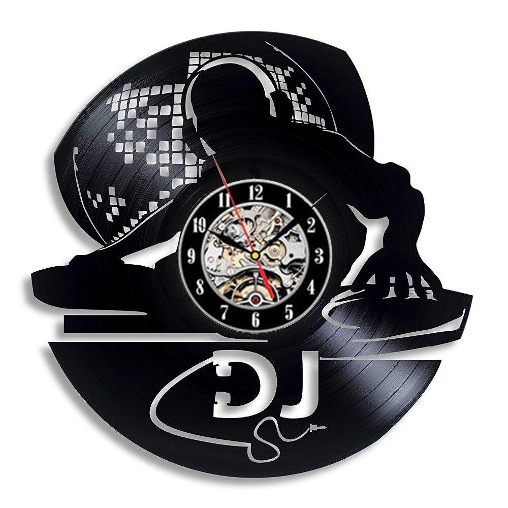 Vinyl Record Wall Clock Modern Design DIY Your DJ Rock Name Hanging Clocks 12 Inch Creative Music Theme Wall Watch Home Decor