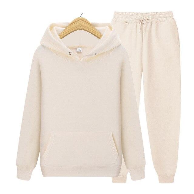2020 new Men's ladies casual wear suit sportswear suit solid color pullover + pants suit autumn and winter fashion suit 5