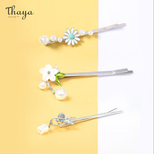 Thaya Korean Pearls Hair Clips For Women Girls Flower Colorful Crystal Hairpins Rectangular Hairgrips Cute Hair Accessories