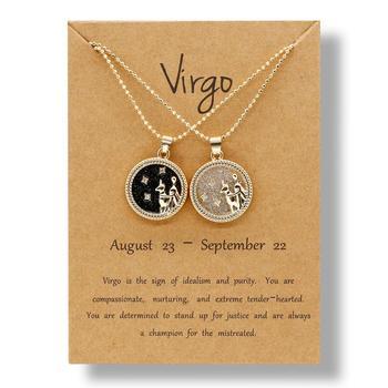 Sprzedaż hurtowa 12 konstelacji naszyjnik para biżuteria dla kobiet mężczyzn znak zodiaku naszyjnik Leo Libra baran karta życzeń prezent