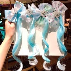 Cute Girls Hairpin Child Twist Hair Clip Simple Barrette Frozen Cartoon Hair Rope Accessories Kids Wig Rope Hair Head Wear
