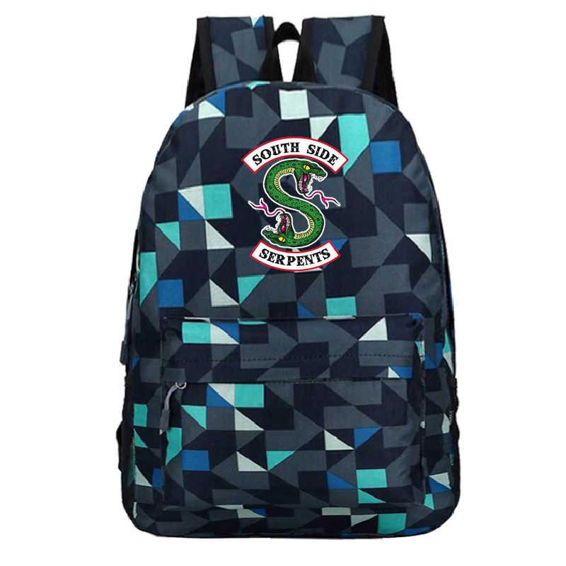 Mochila Notebook Sac Riverdale 3xk Anime Backpack Men School Bags Unisex Tassen Zipper Casual Plecak South Side Serpents Bookbag