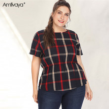 Vrouwen Casual Kantoor Tops Plus Size Elastische Taille Zomer T-shirt Plaid Slim Fit Party Holiday Poleras Mujer 2020 Strand kleding(China)