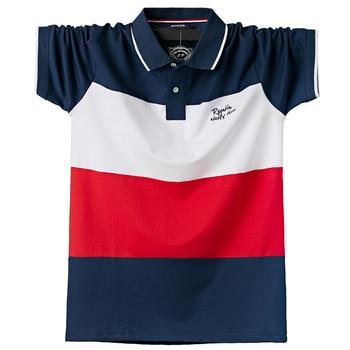 Koszulka Polo mężczyźni duże wysokie rękawy z krótkim rękawem fajny Top koszulki bawełniane męskie duże koszulki lato Fit wąski Patchwork koszulki Polo Plus rozmiar M-6XL