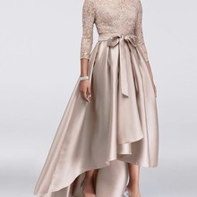 SINGLE ELEMENT Satin Champagne High Low Plus Size Evening Wedding Party Guest Gown Mother