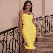 Ocstrade vestido midi bandagem 2020 novo feminino limão amarelo fluted bustier sereia bandagem vestido bodycon sexy clube festa dresss