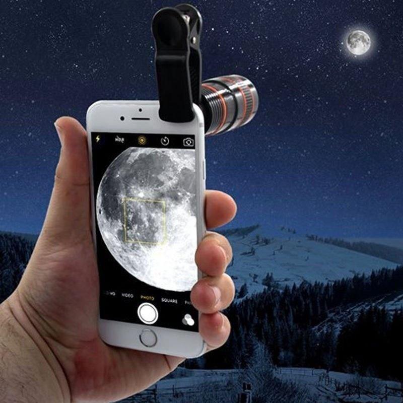Универсальный объектив 8x 12x для камеры смартфона HD телескоп оптический объектив зум объектив с зажимом