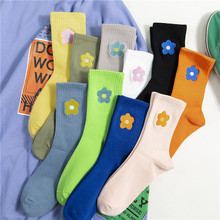 Streetwear Flower Embroider Cute Socks Women Pure Color Breathable Casual Sock Japanese Korean Personality Accessory Hot