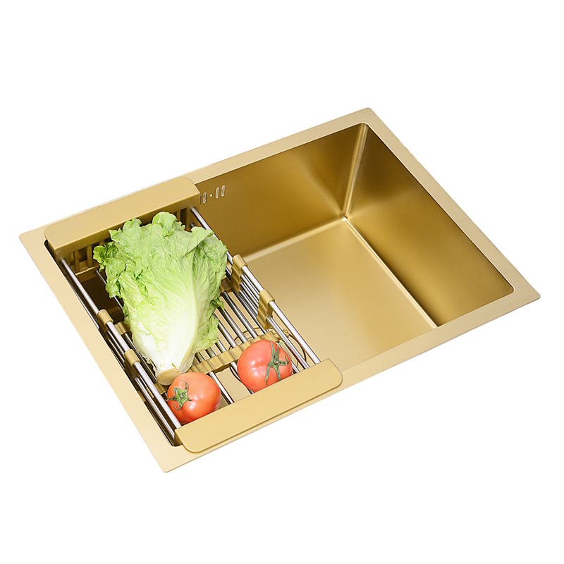 Single Bowl Brush Kitchen Sink Gold Drain Undermount Above Counter Manual Sink Single Bar 304 Stainless Steel Gold Kitchen Sink