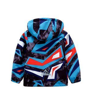 Image 4 - Sporty Geometric Print Kids Outfits Warm Fleece Child Coat Waterproof Baby Girls Boys Jackets Children Outerwear For 98 152cm
