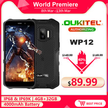 Oukitel wp12 ip68 impermeável android 11 smartphone robusto 5.5 hd hd hd + display 4gb + 32gb helio a22 nfc 4000mah telefone móvel