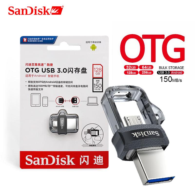 SanDisk OTG USB Flash Drive 32GB 16GB USB 3.0 Dual Mini Pen Drive 256GB 128GB 150MB/S PenDrive 64GB  For PC And Android Phone
