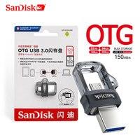 SanDisk OTG USB Flash Drive 32GB 16GB USB 3.0 Dual Mini Stift Stick 256GB 128GB 150 MB/S stick 64GB für PC und Android telefon-in USB-Flash-Laufwerke aus Computer und Büro bei