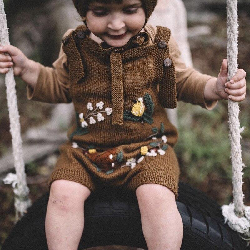 Dziewczynek pajacyki z dzianiny nowonarodzone chłopcy dziewczyna ubrania dla niemowląt kwiatowy haft Playsuit dzieci kombinezon kombinezony maluch One Piece
