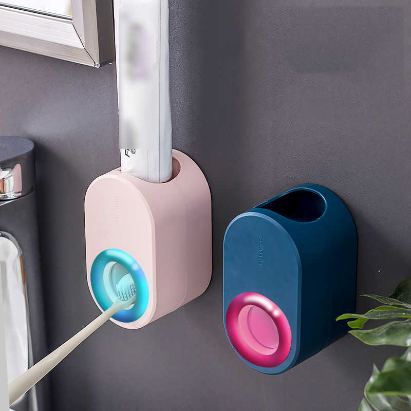Automatic Toothpaste Dispenser Squeezer Toothbrush Holder Wall Mount Bathroom